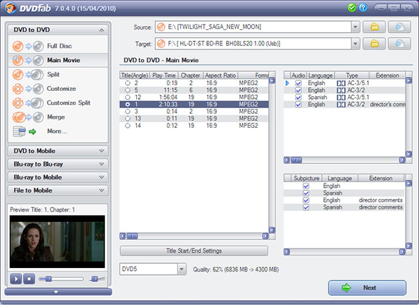 DVDFab DVD Copy Screenshot 2: Customize votre copie de DVD facile à utiliser interface