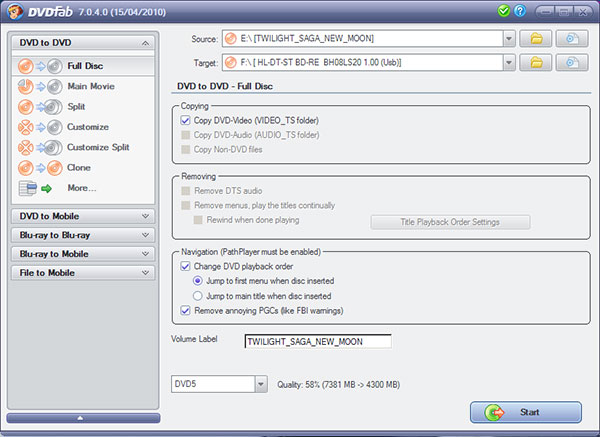 DVDFab DVD Copy Screenshot 4: Start copier sur un support DVD ou film juste ripper sur votre PC